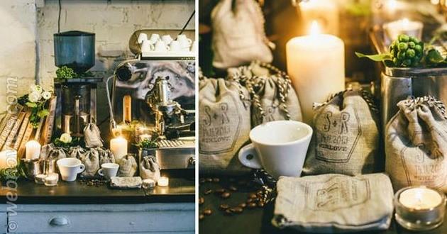 Coffee bar en el banquete de boda