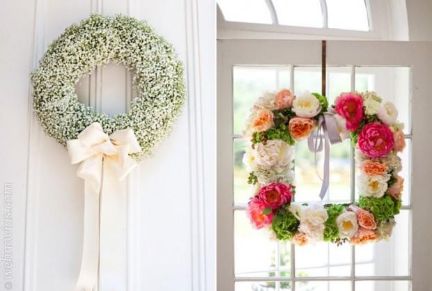 Coronas de flores para decorar la boda