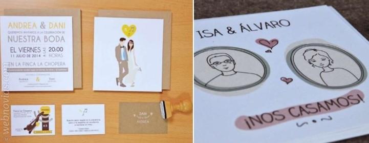 Invitaciones de boda con ilustraciones