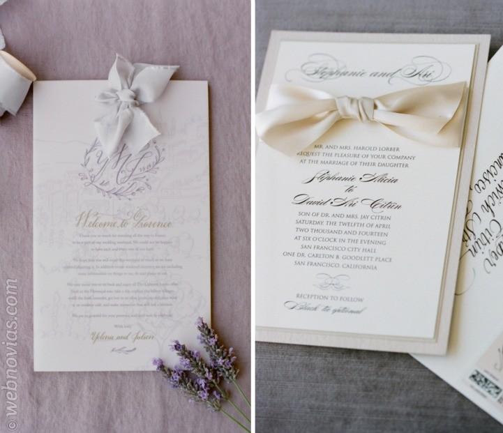 Invitaciones de boda envueltas con un lazo