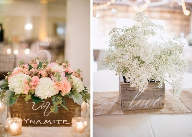 Decora tu boda con cajas de madera - Como decorar cajas de madera para centros de mesa ...