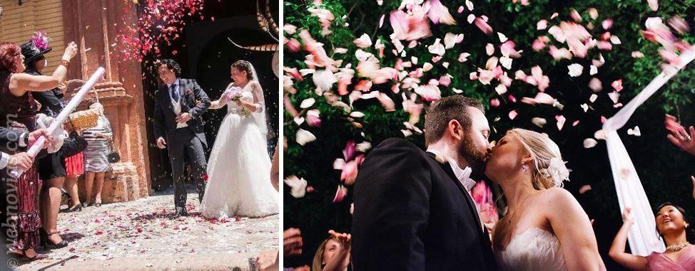 Pétalos en la boda una pincelada de color