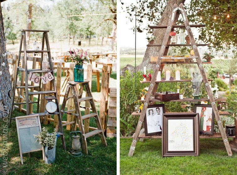 Pon una escalera de madera en tu boda