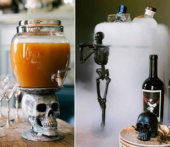 Bebidas y coctéles para una boda en Halloween