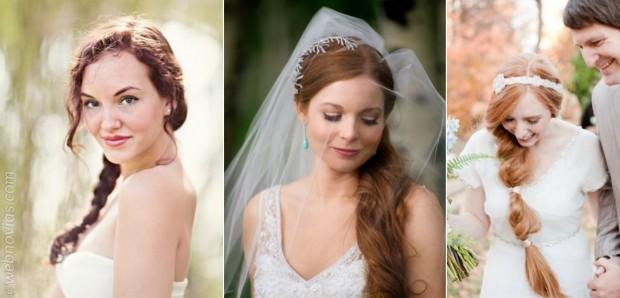 Novias muy femeninas: peinados ladeados