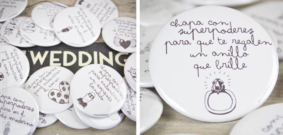 Detalles para bodas: Chapas divertidas