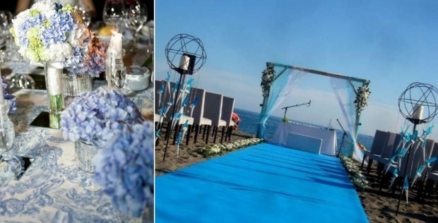 Decoración de bodas en azul