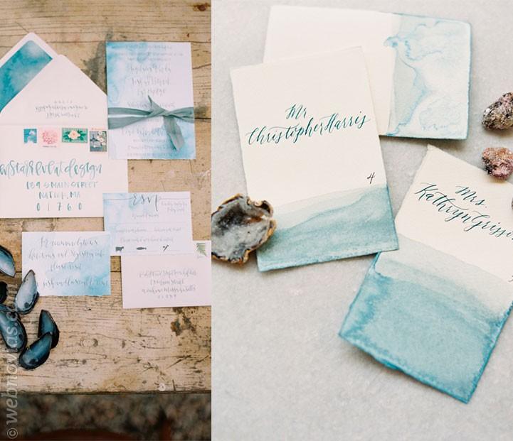 Invitaciones de boda de inspiración marina