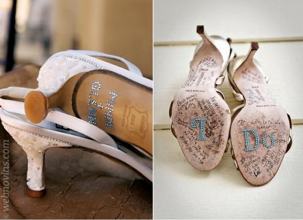 """""""Sí, quiero"""" en los zapatos de la boda"""