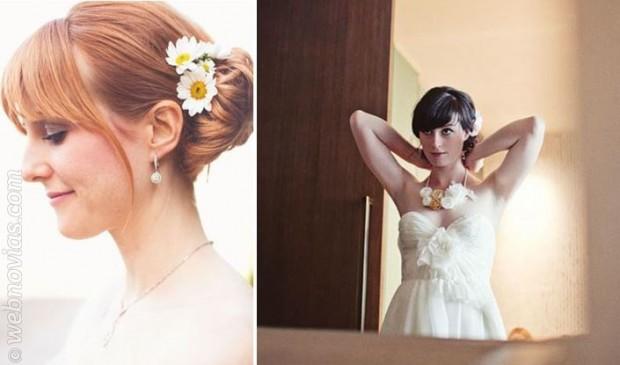 Peinados para novias con flequillo