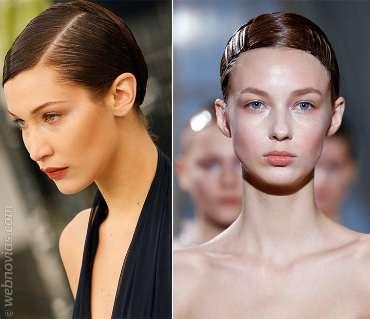 Peinados efecto mojado para novias
