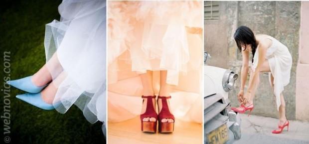 zapatos de novia de colores azul rojo y granate