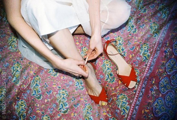 zapatos de novia planos rojos