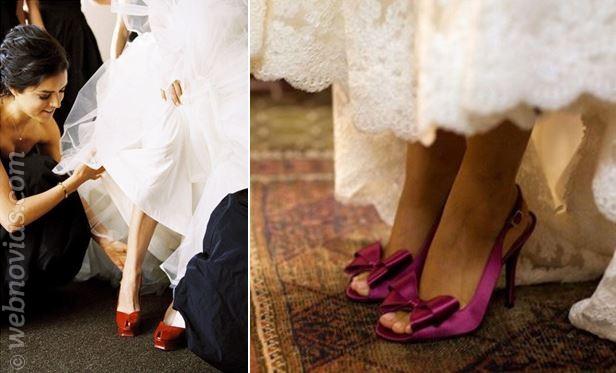 zapatos de novia rojos y lilas